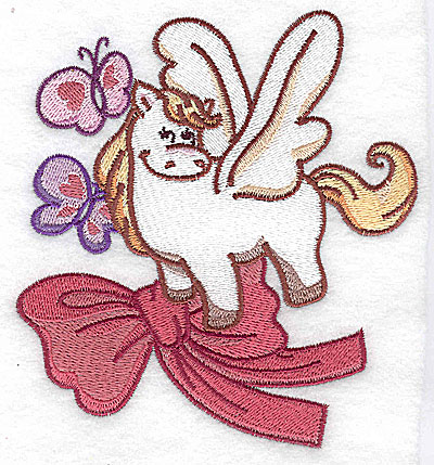 Embroidery Design: Pegasus with butterflies large 4.53w X 4.97h