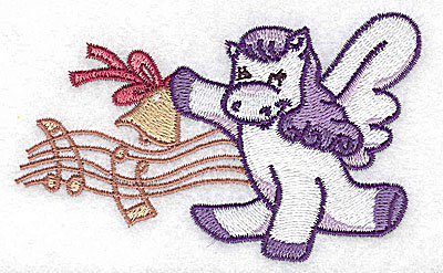 Embroidery Design: Pegasus with musical notes small 3.89w X 3.58h