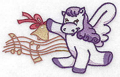 Embroidery Design: Pegasus with musical notes large 4.98w X 3.17h