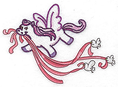 Embroidery Design: Pegasus with birds and ribbons large 4.95w X 3.51h