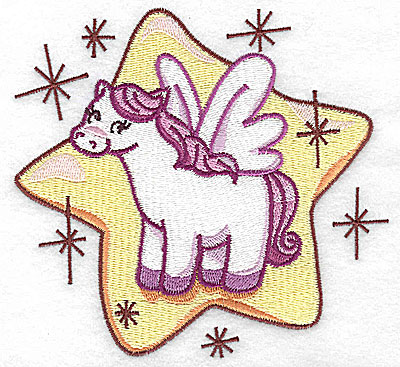Embroidery Design: Pegasus on star large 4.93w X 4.59h