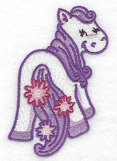 Embroidery Design: Pegasus C with flowers 2.51w X 3.73h