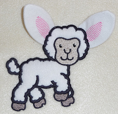 Embroidery Design: Lamb applique 4.00w X 4.44h