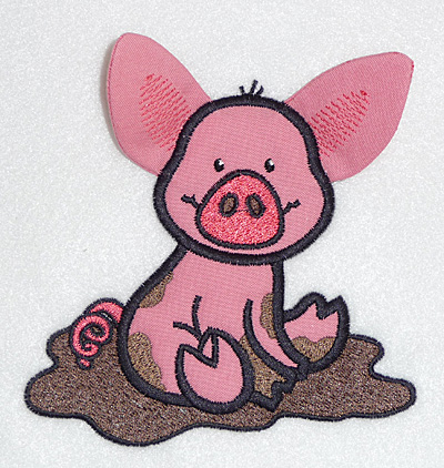 Embroidery Design: Pig in mud applique 4.74w X 4.50h