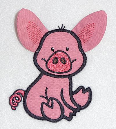 Embroidery Design: Pig applique 3.81w X 4.10h