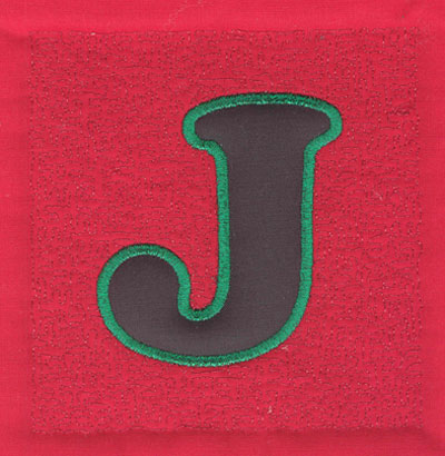 Embroidery Design: 4 inch J Applique Stipple3.89w X 4.02h