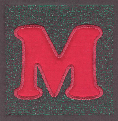 Embroidery Design: 4 inch M Applique Stipple3.90w X 4.02h
