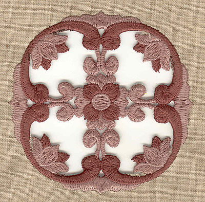 Embroidery Design: Floral cutwork with border small 3.89w X 3.89h