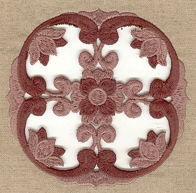 Embroidery Design: Floral cutwork with border large 4.98w X 4.98h