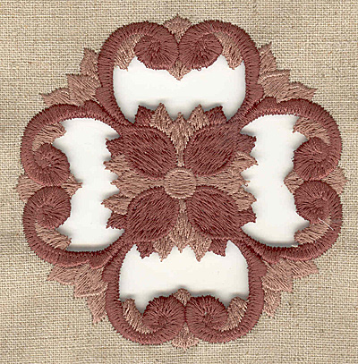 Embroidery Design: Floral cutwork small 3.83w X 3.83h