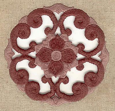 Embroidery Design: Floral swirl cutwork small 3.89w X 3.89h
