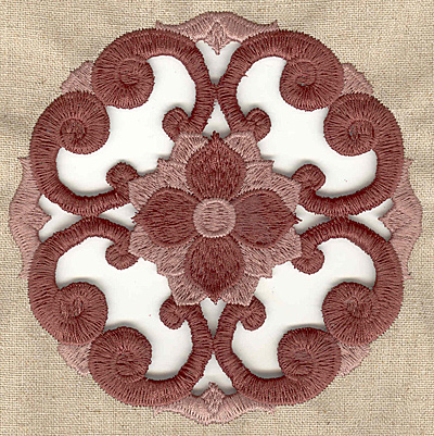 Embroidery Design: Floral swirl cutwork large 4.98w X 4.98h