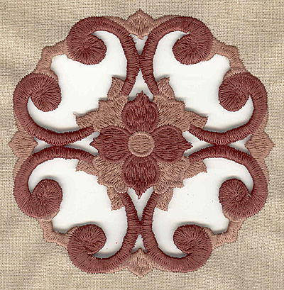 Embroidery Design: Floral swirling cutwork large 4.98w X 4.98h