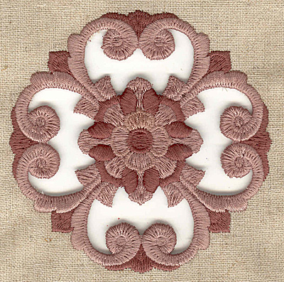 Embroidery Design: Flower and swirls cutwork small 3.88w X 3.88h