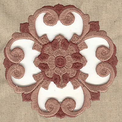 Embroidery Design: Flower and swirls cutwork large 4.98w X 4.98h