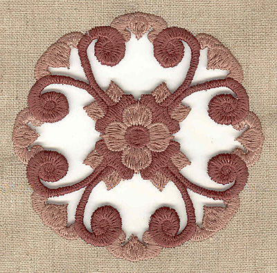 Embroidery Design: Floral swirl cutwork small 3.83w X 3.83h