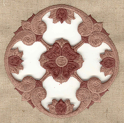Embroidery Design: Floral center cutwork small 3.88w X 3.88h