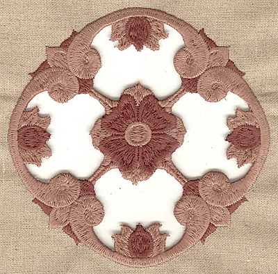 Embroidery Design: Floral center cutwork large 4.97w X 4.97h