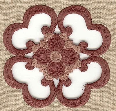 Embroidery Design: Hearts and flower cutwork small 3.44w X 3.44h