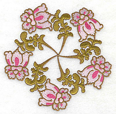 Embroidery Design: Carousel Flowers C large 4.90w X 4.98h