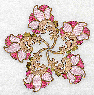 Embroidery Design: Carousel Flowers D large 4.94w X 4.98h