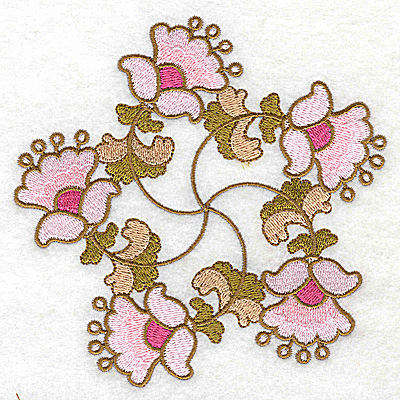Embroidery Design: Carousel Flowers H large 4.96w X 4.94h