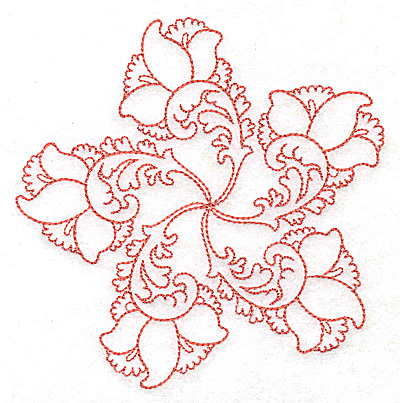Embroidery Design: Carousel Flowers D outline 4.91w X 4.95h