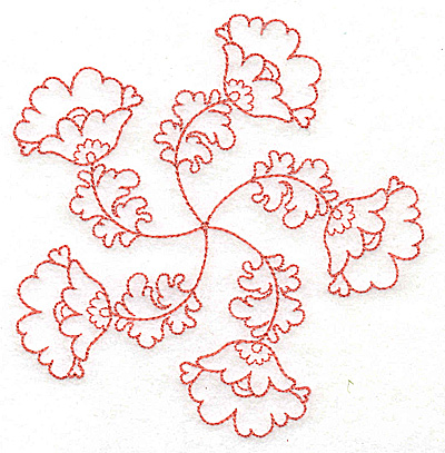 Embroidery Design: Carousel Flowers E outline 4.80w X 4.95h