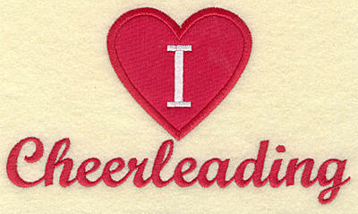 Embroidery Design: I love cheerleading large applique 6.97w X 4.00h