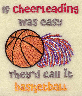 Embroidery Design: Cheerleading basketball 3.70w X 4.36h