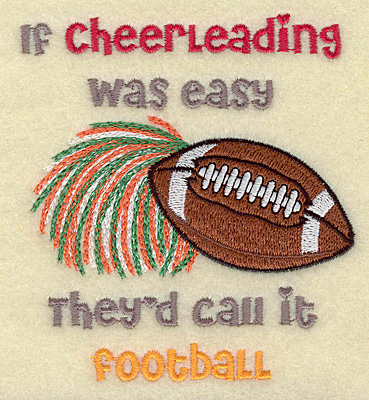 Embroidery Design: Cheerleading football 3.84w X 4.30h