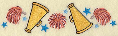 Embroidery Design: Pom poms megaphones and stars 8.89w X 2.46h