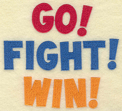 Embroidery Design: Go Fight Win large 5.49w X 5.00h