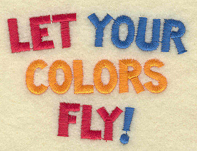 Embroidery Design: Let your colors fly small 3.29w X 2.42h