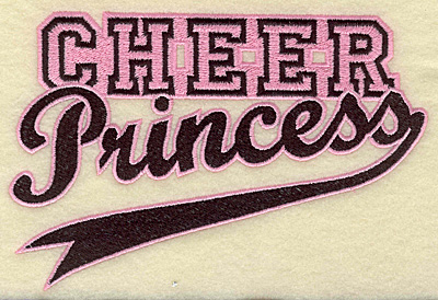 Embroidery Design: Cheer princess large 6.97w X 4.70h