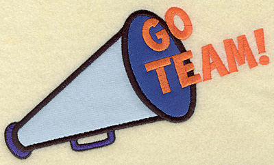 Embroidery Design: Go Team megaphone double applique 6.88w X 4.00h
