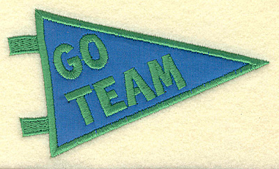 Embroidery Design: Go team banner applique small 4.50w X 2.65h