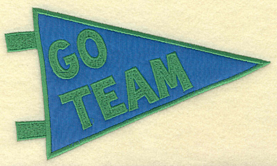 Embroidery Design: Go team banner applique large 6.94w X 4.04h
