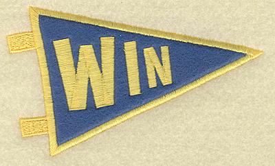 Embroidery Design: Win banner applique small 4.82w X 2.88h