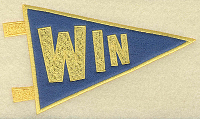 Embroidery Design: Win banner applique large 6.96w X 4.04h