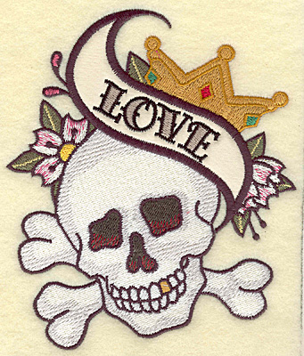 Embroidery Design: Love applique skull 4.99w X 5.80h
