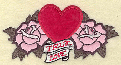 Embroidery Design: True love heart and roses applique 6.89w X 3.53h