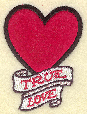 Embroidery Design: True love heart applique 2.67w X 3.56h