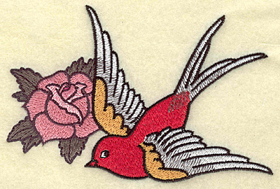 Embroidery Design: Bird and rose 5.27w X 3.54h