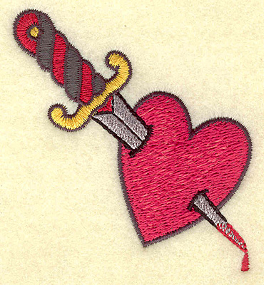 Embroidery Design: Dagger in heart 2.79w X 3.13h
