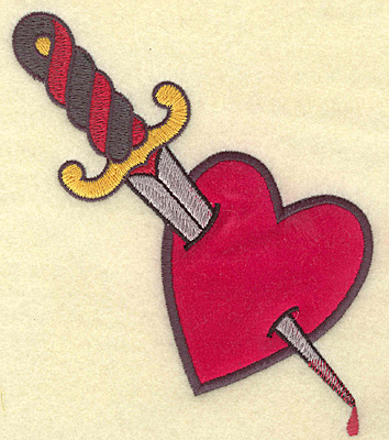Embroidery Design: Dagger in heart applique  4.93w X 5.58h