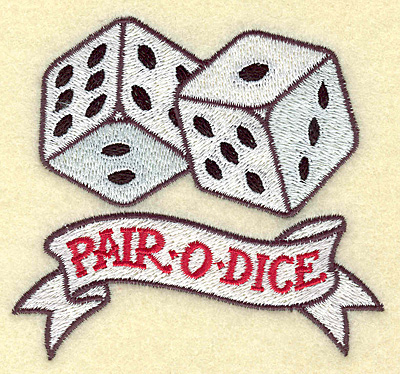 Embroidery Design: Pair O Dice small 3.84w X 3.55h