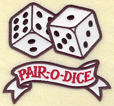 Embroidery Design: Pair o Dice applique 5.28w X 4.98h