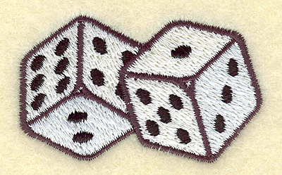 Embroidery Design: Dice pair 2.41w X 1.50h