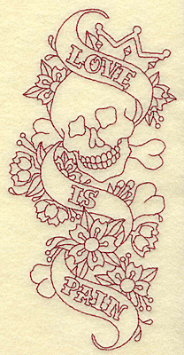 Embroidery Design: Love is pain redwork 3.49w X 6.95h